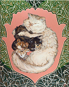 Persian Cat Paintings - Mother With Her Kittens by Mira Slava Shulzhevskaya
