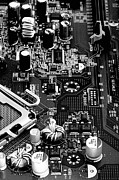 Processor Posters - Motherboard Black and White Poster by Vinnie Oakes
