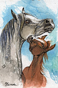 Horse Drawing Painting Prints - Motherhood 1 Print by Angel  Tarantella