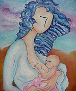 Breastfeeding Paintings - Motherhood painting Everywhere original oil by Gioia Albano by Gioia Albano