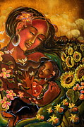 Sacred Feminine Paintings - Mothering Myself by Crystal Charlotte Easton