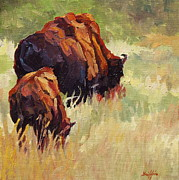 Bison Art - Mothering by Patricia A Griffin