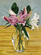 Glass Table Reflection Painting Prints - Mothers Day Bouquet Print by Rosa  Pederson