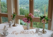 Vase Table Framed Prints - Mothers Day Card - German Cafe Framed Print by Carol Groenen