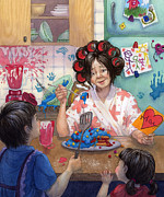 Siblings Paintings - Mothers day Feast by Isabella Kung