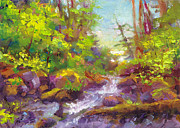 Rushing Water Paintings - Mothers Day Oasis - woodland river by Talya Johnson