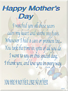 Gratitude Card Posters - Mothers Day Poem Card Poster by Debra     Vatalaro