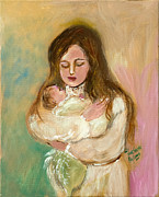 Abstract Mother And Child Paintings - Mothers Love by Anna Sandhu Ray