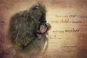 Chimpanzee Digital Art Framed Prints - Mothers Love Framed Print by Barbara Orenya