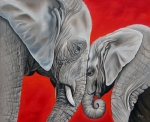 Elephant Paintings - Mothers Love by Ilse Kleyn
