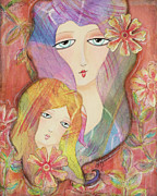 Little Girls Mixed Media Prints - Mothers Love Print by Joann Loftus
