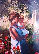Daughter Pastels Posters - Mothers Love Poster by Tonja  Sell