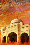 Historic Site Painting Metal Prints - Moti Masjid Metal Print by Catf