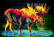Wildlife Landscape Painting Prints - Motley Moose Print by TeshiaArt