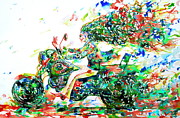Suzuki Paintings - Motor Demon Running Fast by Fabrizio Cassetta