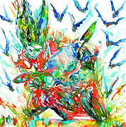 Harley Davidson Paintings - Motor Demon With Bats by Fabrizio Cassetta
