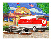 Street Drawings - Motorama General Motors mobile showroom  on tour by Jack Pumphrey