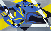 Action Sports Art Paintings - Motorbike 1 by Olivia Davis