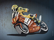 Motor Metal Prints - Motorbike Racing Grunge Color Metal Print by Frank Ramspott