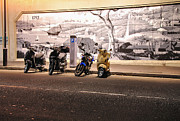 Mural Photos - Motorbikes Waiting by Kaye Menner