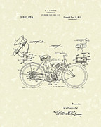 Early Drawings Prints - Motorcycle 1919 Patent Art Print by Prior Art Design