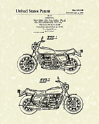 Sports Art Drawings Posters - Motorcycle 1976 Patent Art Poster by Prior Art Design
