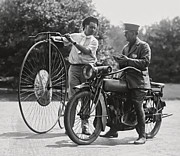 Police Officer Prints - MOTORCYCLE and VELOCIPEDE - 1921 Print by Daniel Hagerman