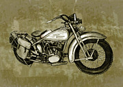 Mini Mixed Media Prints - Motorcycle Art Sketch Poster Print by Kim Wang