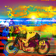 Featured Art - Motorcycle Beach Racing by Gary Grayson