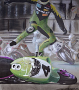 Wheel Drawings - Motorcycle Crash by Paul Kuras