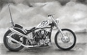 Black And White Pastels Posters - Motorcycle Poster by Heather Gessell