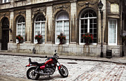 Motorcycle In Old Montreal Print by John Rizzuto