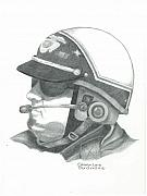 Officer Drawings Framed Prints - Motorcycle Officer on the Job Framed Print by Sharon Blanchard