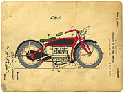 Patent Prints - Motorcycle Patent Print by Edward Fielding