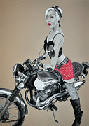 Bicycle Drawings - Motorcycle Pin Up by Joe Dragt