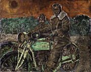 Machinery Painting Posters - Motorcycle Soldier Poster by Anthony High
