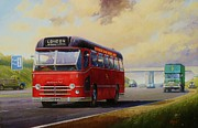 Bus Framed Prints - Motorway express 1959. Framed Print by Mike  Jeffries