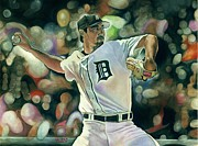 Detroit Tigers Baseball Art Framed Prints - Motown Mow-Down Framed Print by Jason Yoder