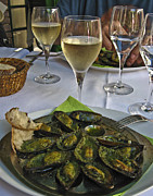 Chardonnay Posters - Moules and Chardonnay Poster by Allen Sheffield