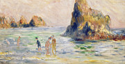 Bathers Framed Prints - Moulin Huet Bay Guernsey Framed Print by Pierre Auguste Renoir