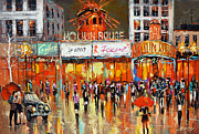 Rainy Street Painting Originals - Moulin Rouge by Dmitry Spiros