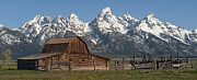 Western United States Photo Framed Prints - Moulton Barn - Grand Tetons I Framed Print by Sandra Bronstein