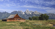 Old Wood Cabin Posters - Moulton Barn In The Tetons Poster by Sandra Bronstein
