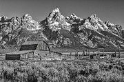 Corral Metal Prints - Moulton Cabin - Grand Tetons II Metal Print by Sandra Bronstein