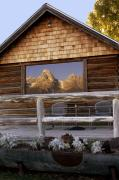 Late Posters - Moulton Ranch Cabin Reflection Grand Tetons Poster by Gary Langley