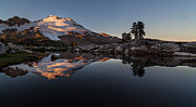 Alpenglow Art - Mount Baker Sunset Glow by Mike Reid