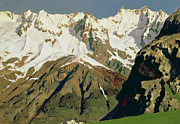 Snow Capped Metal Prints - Mount Blanc Mountains Metal Print by Isaak Ilyich Levitan