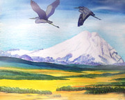 Landscape With Mountains Framed Prints - Mount Elbrus Watching Blue Herons Fly Over Sunflower Fields Framed Print by Anastasia  Ealy
