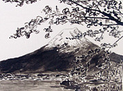 Cherry Blossoms Painting Prints - Mount Fuji Spring Blossoms Print by Kevin Croitz