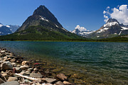 The Western Hotel Photos - Mount Grinnell and Swiftcurrent Lake at Many Glacier by Charles Kozierok